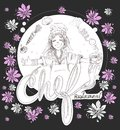 Chef girl cartoon with flowers logo pencil stroke design has cli Royalty Free Stock Photo