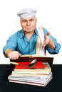 Chef with recipe book cook man looking for a in the cook white background Stock Photos