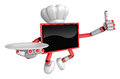 Chef red tv mascot the right hand best gesture and the right han is holding a plate create d television robot series Stock Photo