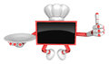Chef red tv mascot the right hand best gesture and the right han is holding a plate create d television robot series Royalty Free Stock Images