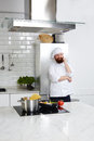 Chef restaurant cooking gourmet pasta for restaurant guests Royalty Free Stock Photo