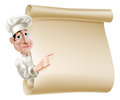 Chef scroll menu illustration of a cartoon pointing at a or banner perhaps a Royalty Free Stock Images