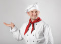 Chef showing hand Royalty Free Stock Photography