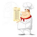 Chef showing menu vector illustration of in restaurant Royalty Free Stock Photo