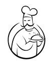 Chef silhouette a of a in illustration Stock Photos