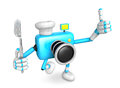 Chef sky blue camera character left hand fork the best gesture of right is taking create d robot series Stock Image