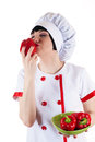 Chef smelling red pepper isolated on white background Stock Photography