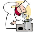Chef smelling or tasting from ladle Stock Photos