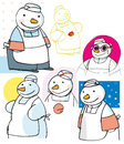 Chef Snowman drawings Royalty Free Stock Image