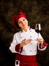 Chef Somelier with wine Stock Image