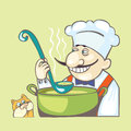 Chef with soope this illustration contains the images of the chief cat and pan Royalty Free Stock Photography