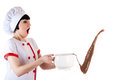 Chef spills hot chocolate isolated on white background Royalty Free Stock Photography