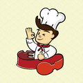 Chef thumb up it is delicious food Royalty Free Stock Photography