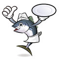 Chef Tuna Fish Character the Left hand best gesture and right ha Royalty Free Stock Photo