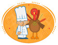 Chef and Turkey Royalty Free Stock Photo