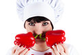 Chef and two red peppers isolated on white background Stock Photo