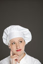 Chef woman having an idea Royalty Free Stock Image
