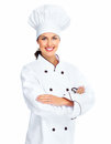 Chef woman isolated over white background Stock Photo