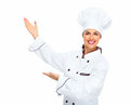 Chef woman isolated over white background Stock Images