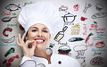 Chef woman over gray background Royalty Free Stock Photos