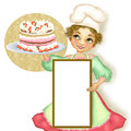 Chef woman pastry with stuffed pie Royalty Free Stock Photo