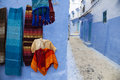 Chefchaouen alley one of the narrow and beautiful alleys of in the north of morocco Stock Photos