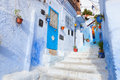 Chefchaouen an alleyway in the medina morocco Stock Photos
