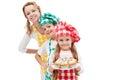 Chefs brigade preparing muffins - woman with kids