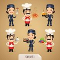 Chefs cartoon characters set in the eps file each element is grouped separately clipping paths included in additional jpg format Stock Photos