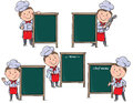 Chefs children with menu board contains transparent objects eps Stock Image