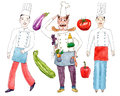 Chefs and vegetables on white