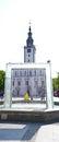 Chelmno city square white church Royalty Free Stock Photo