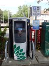 A close up of the charging bowser at an  electric vehicle charging point Royalty Free Stock Photo