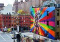 Chelsea manhattan a mural by artist brazilian artist kobra april in new york ny the colorful mural is based on alfred eisenstaedt Royalty Free Stock Image