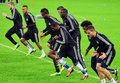 Chelsea players during uefa champions league official training s pictured in action the held with the ocasion of group e game Stock Photos