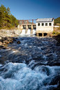 Chemal hydroelectric power plant view at on altai river Stock Photo