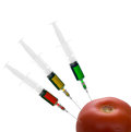Chemical additives in food gm adulterated tomato isolated on genetically modified or otherwise treated sprayed or altered aka Stock Images