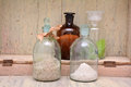 Chemical bottles in a row set of with different content Royalty Free Stock Photography