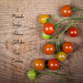The chemical composition of tomato on wood background Royalty Free Stock Photography