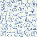 Chemical doodles on school squared paper vector illustration Stock Photo