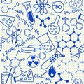 Chemical doodles seamless pattern on school squared paper Stock Image