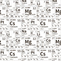 Chemical elements from periodic table, black and white seamless pattern Royalty Free Stock Photo
