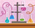 Chemical experience, flat color illustration with formulas. Royalty Free Stock Photo