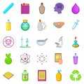 Chemical experience icons set, cartoon style Royalty Free Stock Photo