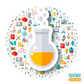 Chemical flask with bubbles flat sticker Royalty Free Stock Photo