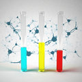 Chemical flask and test tubes Royalty Free Stock Photo