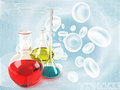 Chemical flask and test tubes Royalty Free Stock Photography