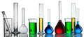 Chemical flasks collection with reagents over white Royalty Free Stock Image