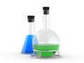 Chemical flasks with reagents Royalty Free Stock Photography