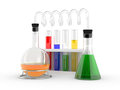 Chemical flasks with reagents Stock Photo